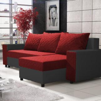 Rohová sedačka FIESTA 6, červená látka/černá ekokůže