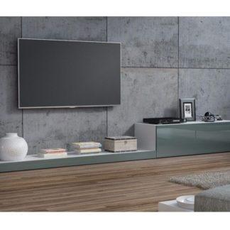 LIFE, televizní stolek RTV, bílá/šedý lesk
