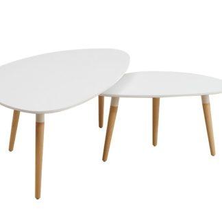 FOLKO set 2 konferenčních stolků, bílá/buk