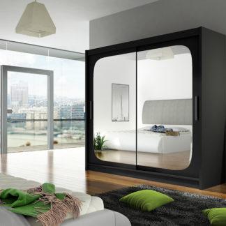 Šatní skříň BEGA VIII, černý mat/zrcadlo