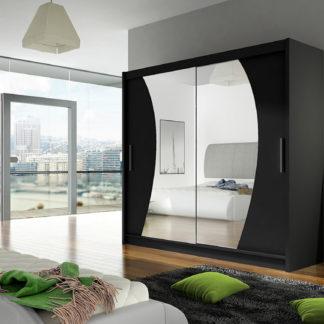 Šatní skříň BEGA IX, černý mat/zrcadlo