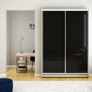 Šatní skříň MONTANA I, bílý mat/černé sklo