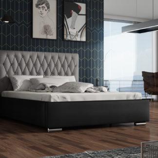 Čalouněná postel TOKIO 140x200 cm, šedá látka/černá ekokůže