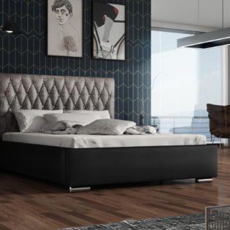 Čalouněná postel TOKIO 140x200 cm, stříbrná látka/černá ekokůže