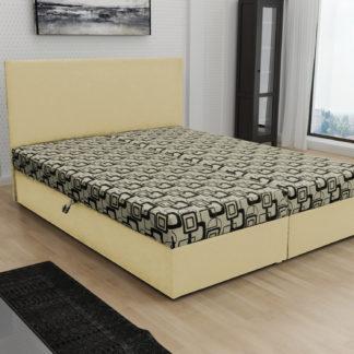 Čalouněná postel JERRY 140x200, béžová látka se vzorem/krémová ekokůže