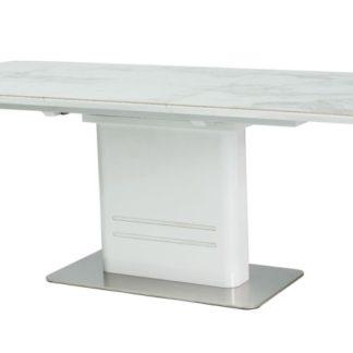 Jídelní stůl CARTIER rozkládací, bílý/mramor