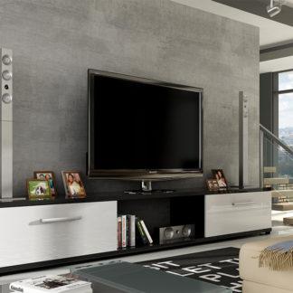 Televizní stolek MOLTON RTV, černá/bílý lesk