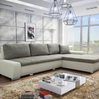 Rohová sedačka TOSKANIA L 1 univerzální roh, šedá látka prošitá béžovou a černou nití/bílá ekokůže