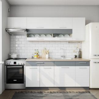 Kuchyně MODENA 180/240 cm, bílý lesk/grafit mat