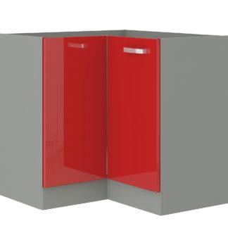 ROSE, skříňka dolní rohová 83/83 cm, 90/90 DN BB, šedá / červený lesk