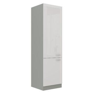 BIANKA, skříňka vysoká 60 DK-210 2F, šedá / bílý lesk