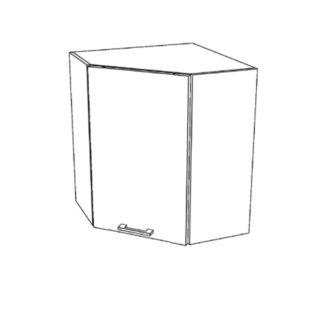 RIO horní rohová skříňka G60NW, korpus bílý mat, dvířka bílý lesk