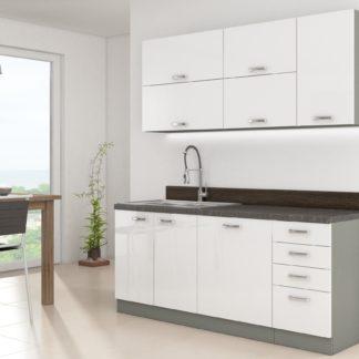 Kuchyně BIANCA 180, šedá/bílý lesk