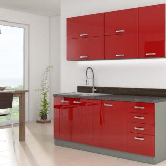 Kuchyně ROSE 180, šedá/ červený lesk