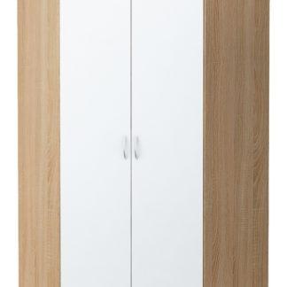 Rohová šatní skříň ALEX, dub sonoma/bílá