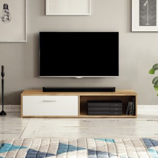 Televizní stolek SIMPLE, dub apalčský/bílý mat