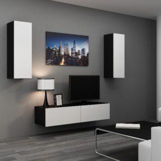 Obývací stěna VIGO 7, černá/bílý lesk