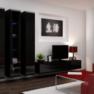 Obývací stěna VIGO 2 B, černá/černý lesk