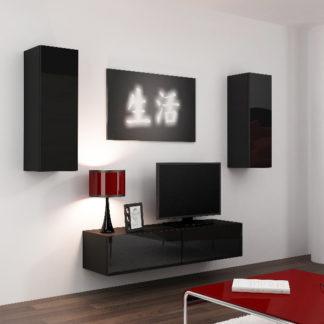 Obývací stěna VIGO 7, černá/černý lesk