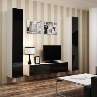 Obývací stěna VIGO 9, bílá/černý lesk