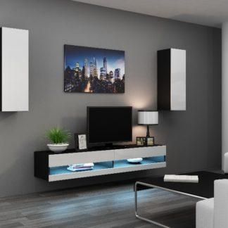 Obývací stěna VIGO NEW 10, černá/bílý lesk