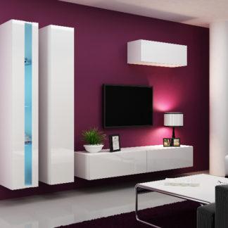 Obývací stěna VIGO NEW 1, bílá/bílý lesk