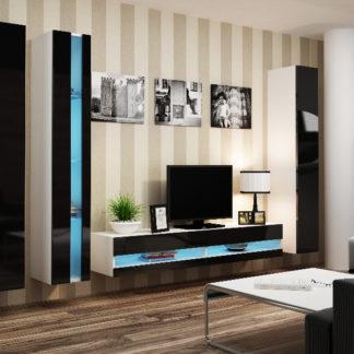 Obývací stěna VIGO NEW 7, bílá/černý lesk