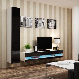 Obývací stěna VIGO NEW 9, bílá/černý lesk