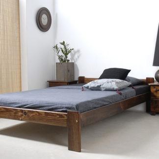 Postel CELINKA 120x200 cm s roštem, masiv borovice/moření ořech