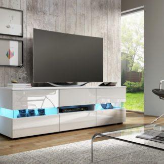 TV stolek INTER, bílá/bílý lesk