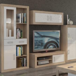Obývací stěna VERIN 8, dub sonoma/bílý lesk