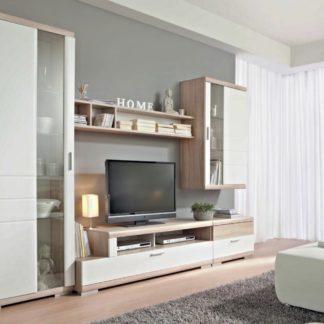 TOGO kombi 01 obývací pokoj, dub bardolino/bílý lesk