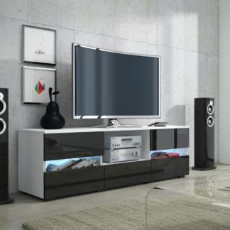 GLOBAL 2 televizní stolek, bílá/černý lesk