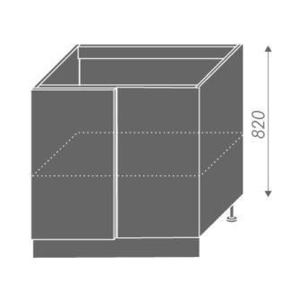 PLATINUM, skříňka dolní rohová D13 U, korpus: grey, barva: black