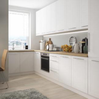 Rohová kuchyně QUANTUM, vzorová sestava, white mat/bílá