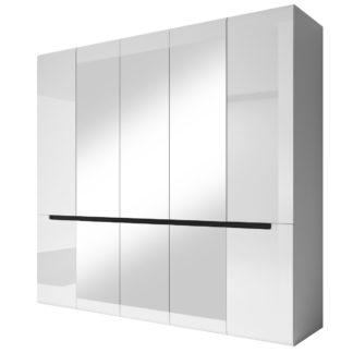 HEKTOR šatní skříň se zrcadlem 225 TYP 21, bílá/bílý lesk