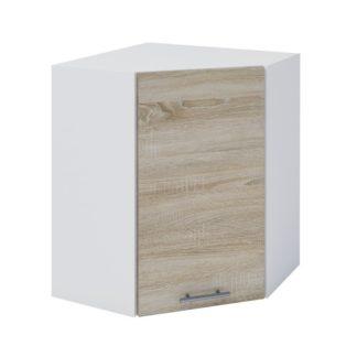 FABIANA, horní rohová skříňka, W-60N, dub sonoma/bílá