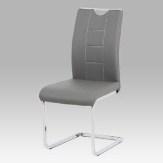 Jídelní židle DCL-411 GREY, šedá koženka/chrom
