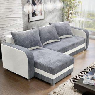 Rohová sedačka LUTON 3, šedý manšestr/bílá ekokůže