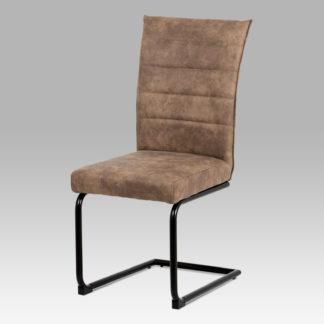 Jídelní židle DCH-170 BR, hnědá koženka/černý lak