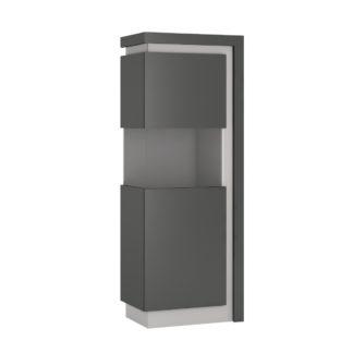 LYON LYOV01L vitrína vysoká 1D levá, šedé platinum/šedý lesk
