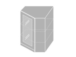 EMPORIUM, skříňka horní rohová prosklená W 10S/60, korpus: bílý, barva: light grey stone