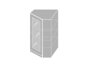EMPORIUM, skříňka horní rohová prosklená W4 10S/60, korpus: lava, barva: white