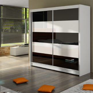 Šatní skříň FALCO III, bílý mat/bílé sklo+černé sklo