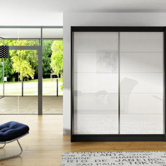 Šatní skříň VITO I, černý mat/bílé sklo