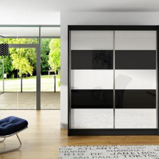 Šatní skříň VITO III, černý mat/bílé sklo+černé sklo