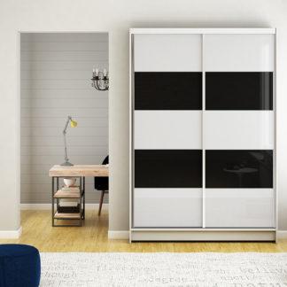 Šatní skříň MONTANA IV, bílý mat/bílé sklo+černé sklo