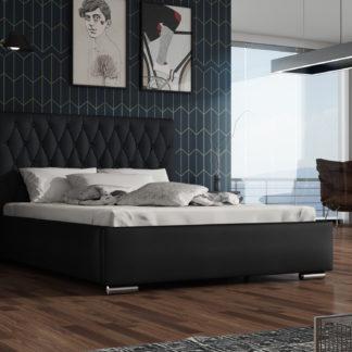 Čalouněná postel TOKIO 140x200 cm, látka námořnická modř/černá ekokůže