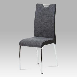 Jídelní židle HC-586 BK2, šedá látka + černá koženka / chrom