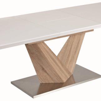 Jídelní stůl ALARAS rozkládací 140x85, bílý lesk/dub sonoma